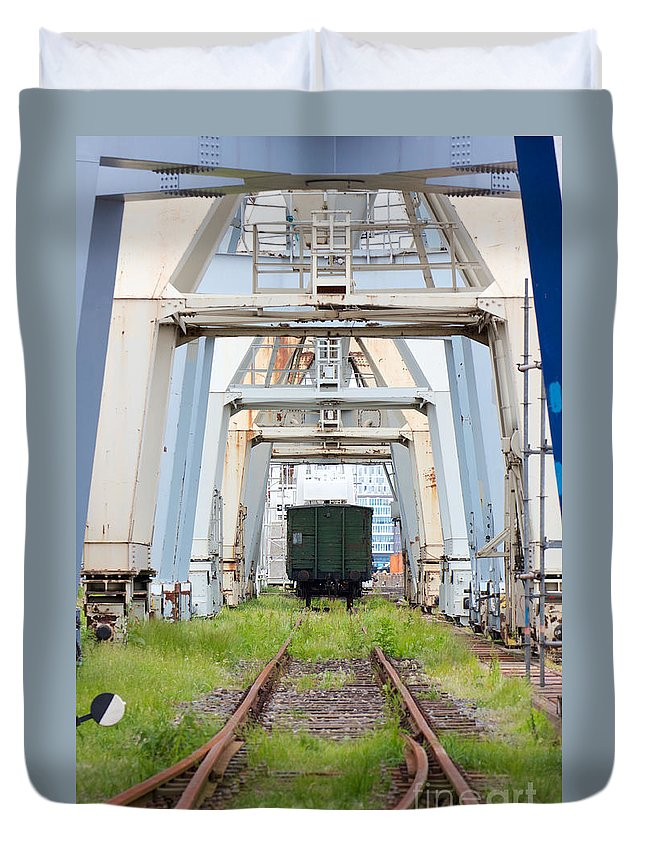 Abandoned Duvet Cover featuring the photograph Abandoned Industrial Dock by Jannis Werner