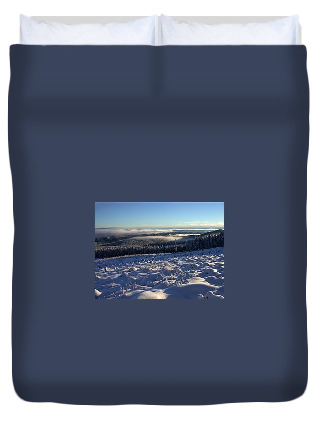 Clouds Duvet Cover featuring the photograph Above The Clouds by Shane Bechler