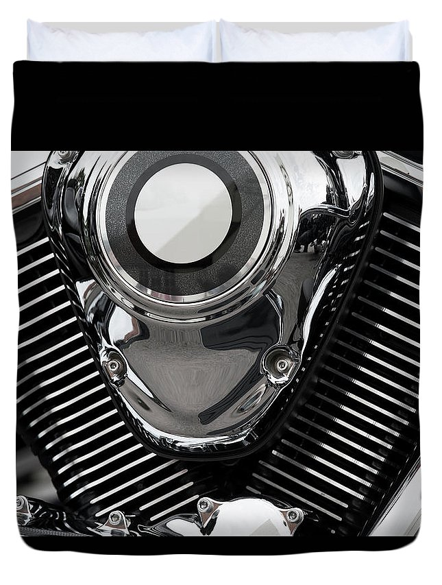 Vehicle Part Duvet Cover featuring the photograph Abstract Motorcycle Engine by Andrew Dernie