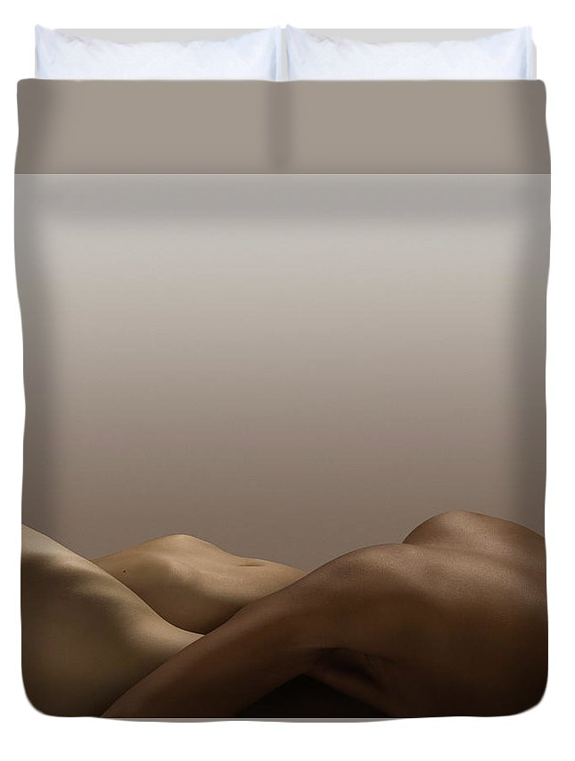 People Duvet Cover featuring the photograph Abstract Nude Bodies, Different Skin by Jonathan Knowles