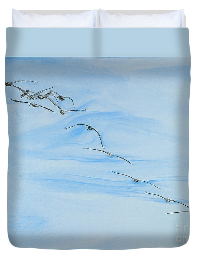 Birds Flying Duvet Cover featuring the painting Adios by John Wilson