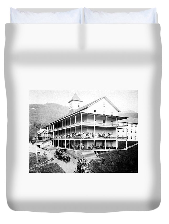 1889 Duvet Cover featuring the photograph Adirondack Hotel, 1889 by Granger