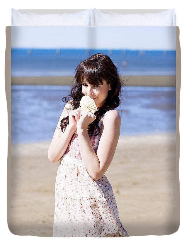 Adorable Duvet Cover featuring the photograph Adorable Seaside Girl by Jorgo Photography - Wall Art Gallery