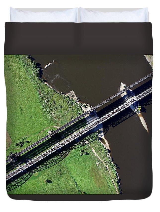 Railroad Track Duvet Cover featuring the photograph Aerial Photo Of The Railway Bridge by Dariuszpa