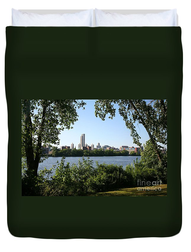 Empire State Plaza Duvet Cover featuring the photograph Albany Skyline by Bill Cobb