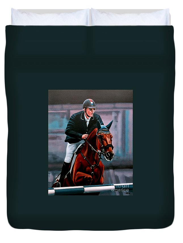 Albert Zoer And Sam Duvet Cover featuring the painting Albert Zoer And Sam by Paul Meijering
