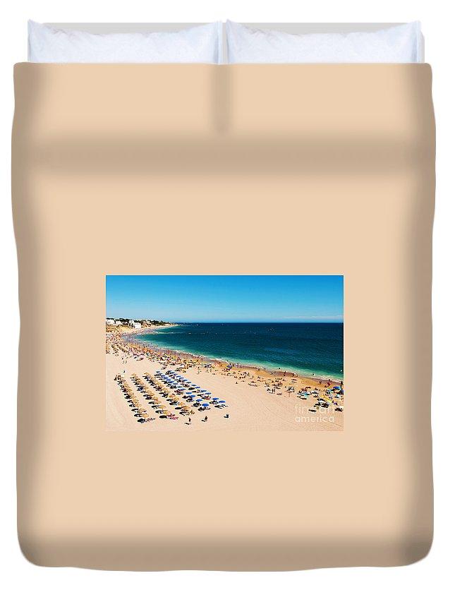 Beach Duvet Cover featuring the photograph Albufeira Beach by Luis Alvarenga