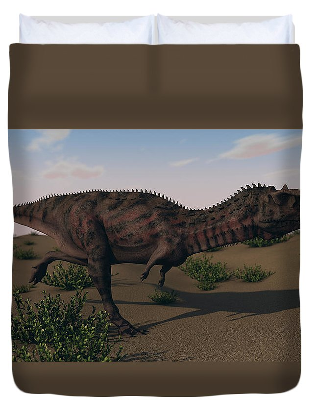 Horizontal Duvet Cover featuring the photograph Alluring Majungasaurus In Swamp by Kostyantyn Ivanyshen