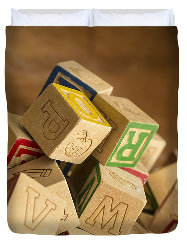 Toy Duvet Cover featuring the photograph Alphabet Blocks by Edward Fielding