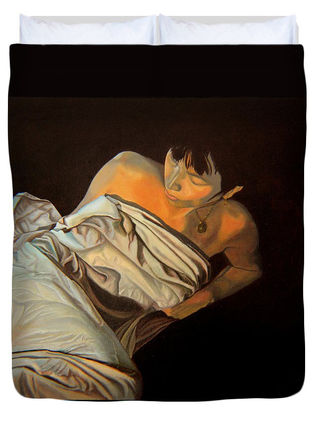 Semi-nude Duvet Cover featuring the painting 1 Am by Thu Nguyen