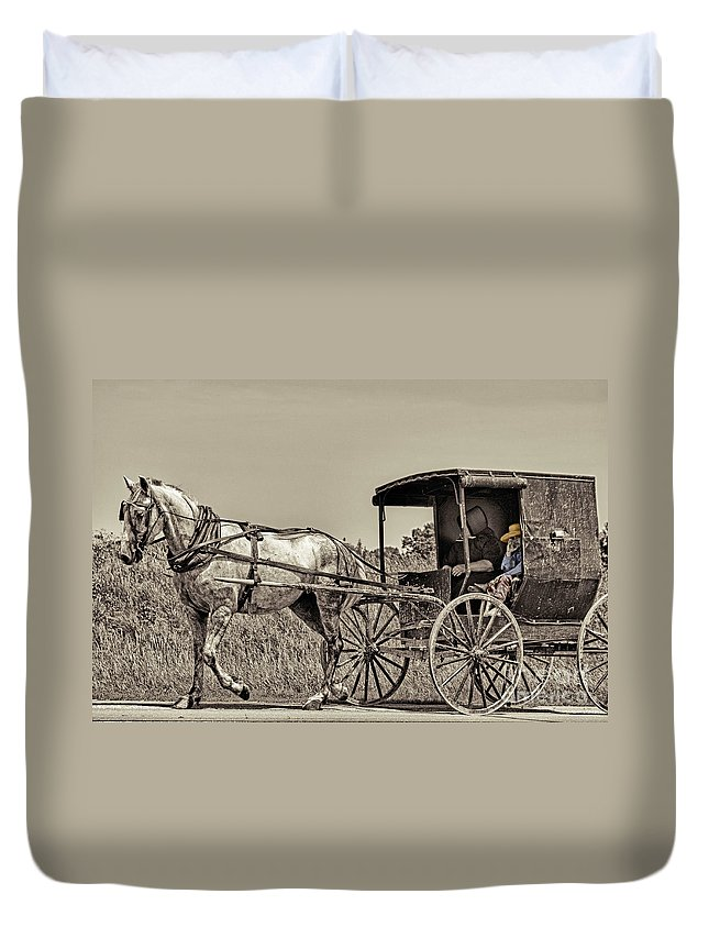 Horse Duvet Cover featuring the photograph Amish Boy Tips Hat by Robert Frederick