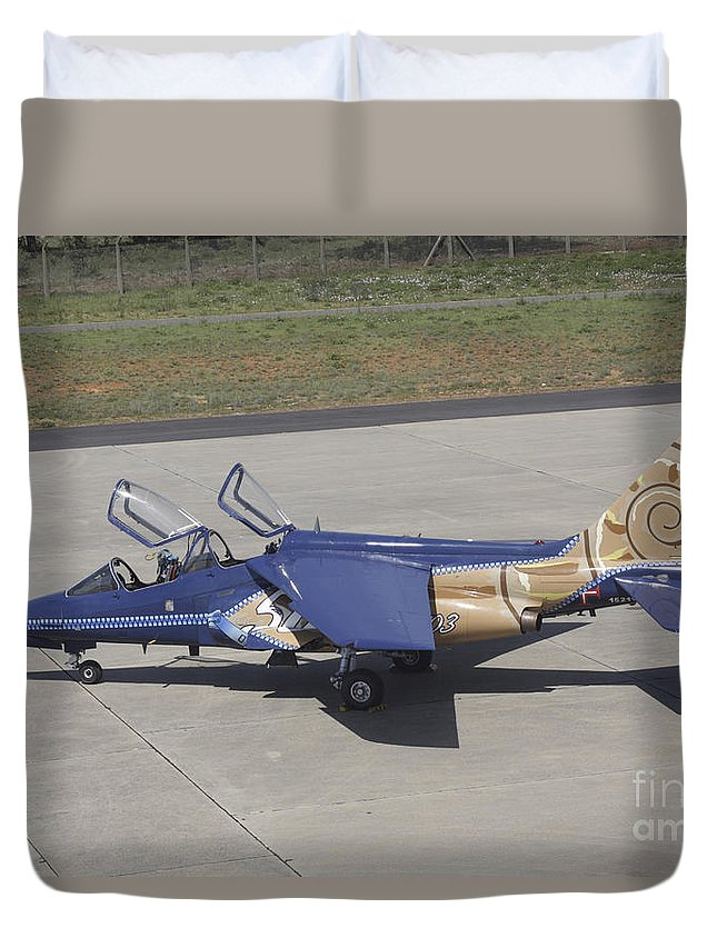 Aircraft Duvet Cover featuring the photograph An Alpha Jet Of The Portuguese Air by Timm Ziegenthaler