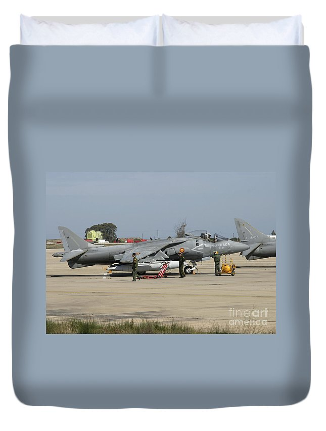 Aircraft Duvet Cover featuring the photograph An Av-8b Harrier II Of The Spanish Navy by Timm Ziegenthaler