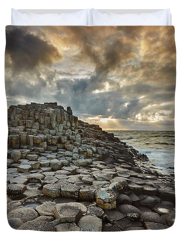 Giant's Causeway Duvet Cover featuring the photograph An Evening View Of The Giants Causeway by Nigel Hicks