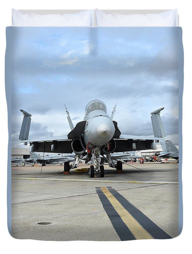 Marine Corps Air Station Miramar Duvet Cover featuring the photograph An Fa-18d Hornet On The Ramp At Marine by Riccardo Niccoli
