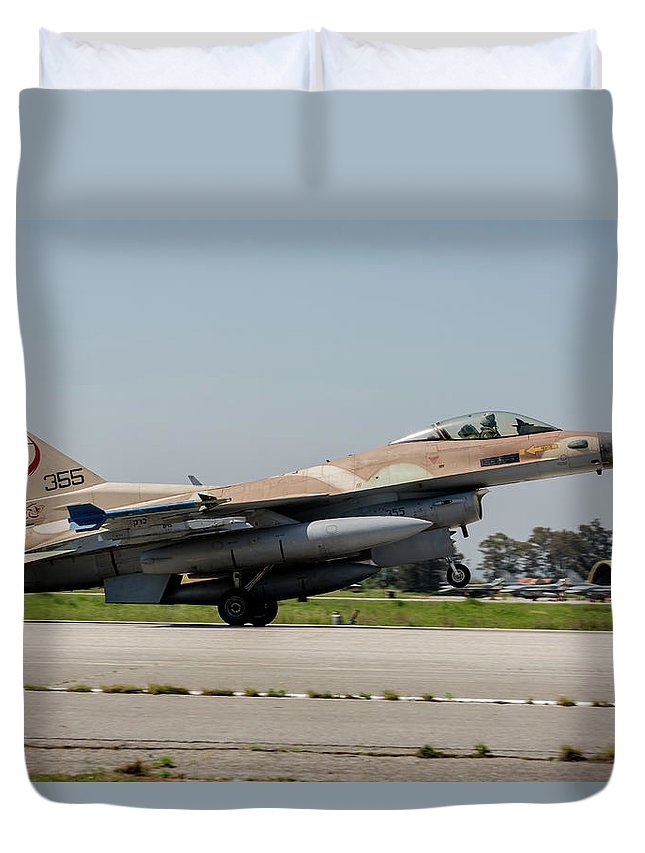 Greece Duvet Cover featuring the photograph An Israeli Air Force F-16c by Timm Ziegenthaler