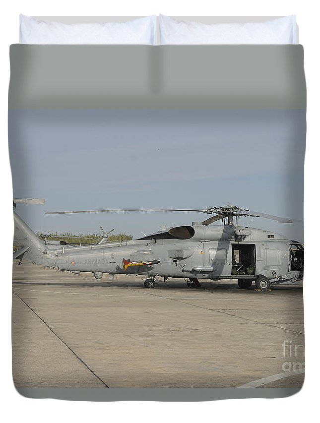 Aircraft Duvet Cover featuring the photograph An Sh-60b Seahawk Of The Spanish Navy by Timm Ziegenthaler