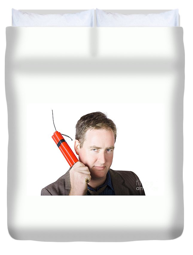 Dynamite Duvet Cover featuring the photograph Angry Business Man Holding Stick Of Dynamite by Jorgo Photography - Wall Art Gallery