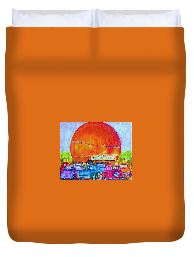 Cars Duvet Cover featuring the painting Antique Cars At The Julep by Carole Spandau