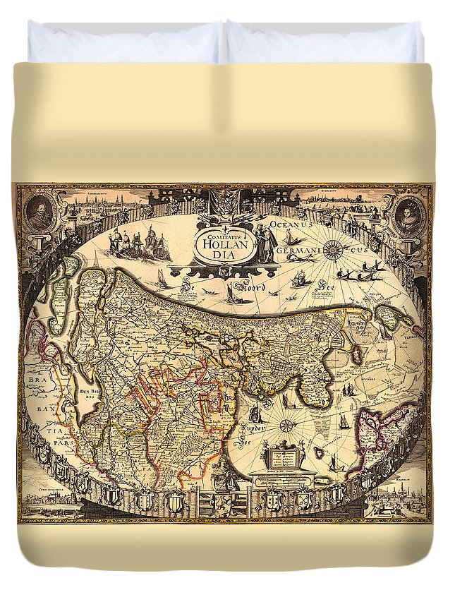 Map Duvet Cover featuring the drawing Antique Map Of Holland 1630 by Mountain Dreams