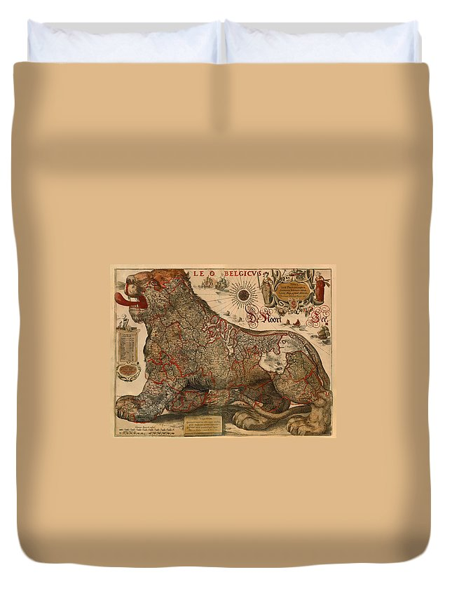 Map Duvet Cover featuring the drawing Antique Map Of Leo Belgicus 1630 by Mountain Dreams