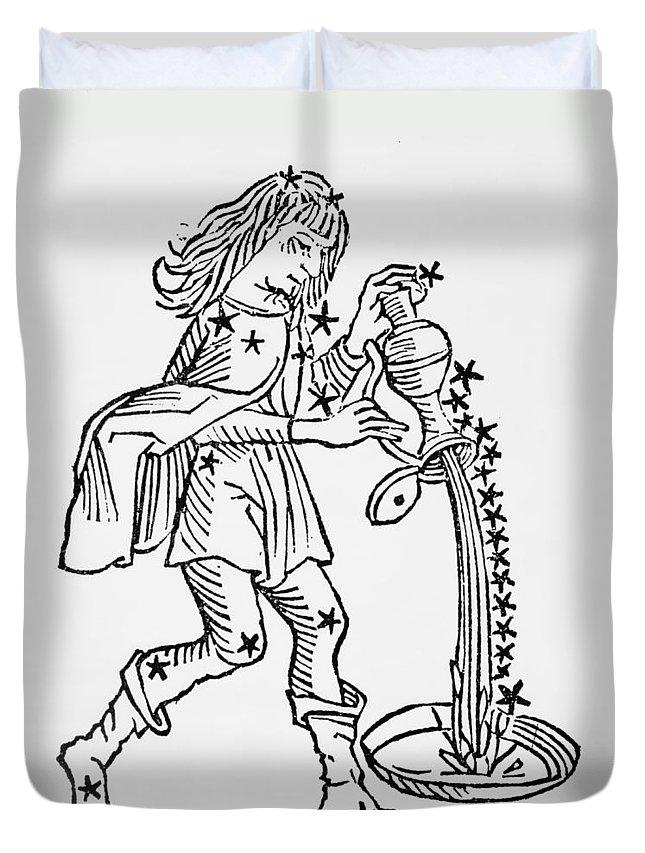Aquarius Duvet Cover featuring the drawing Aquarius by Italian School