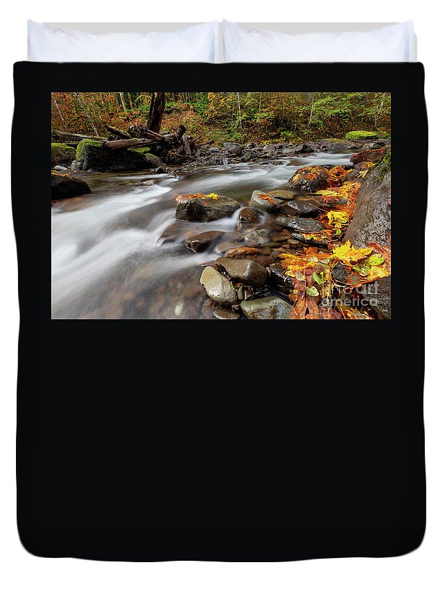 Slot Canyon Duvet Cover featuring the photograph Around The Bend by Mike Dawson