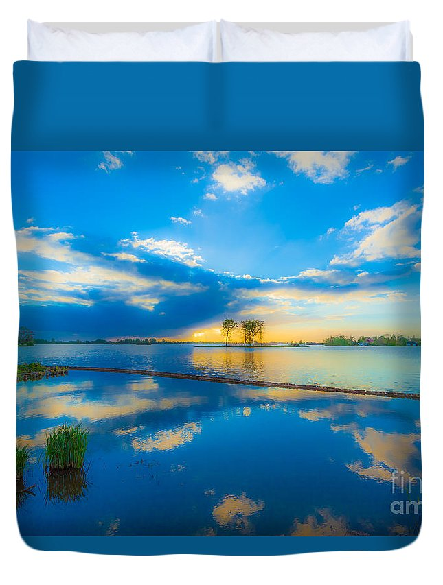 Lake Duvet Cover featuring the photograph As Above So Below by Casper Cammeraat