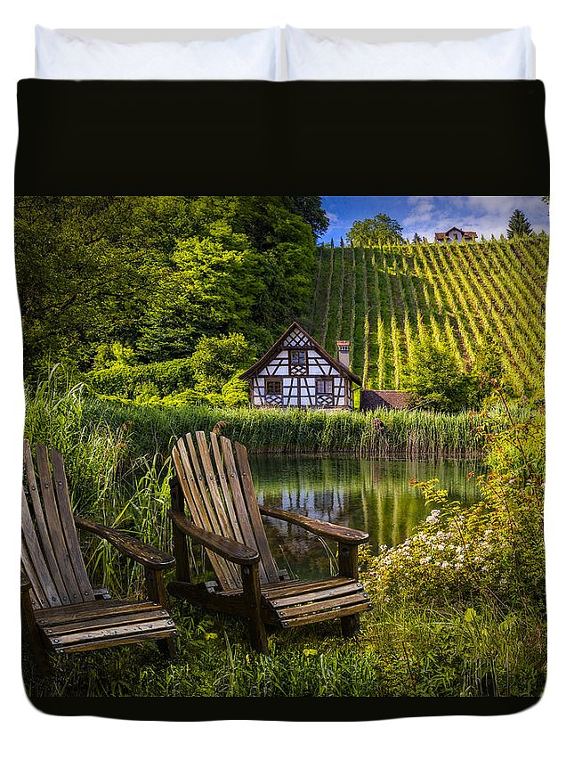 Austria Duvet Cover featuring the photograph At The Lake by Debra and Dave Vanderlaan