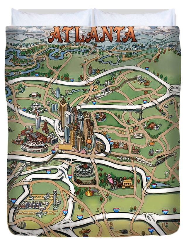 Atlanta Duvet Cover featuring the painting Atlanta Cartoon Map by Kevin Middleton