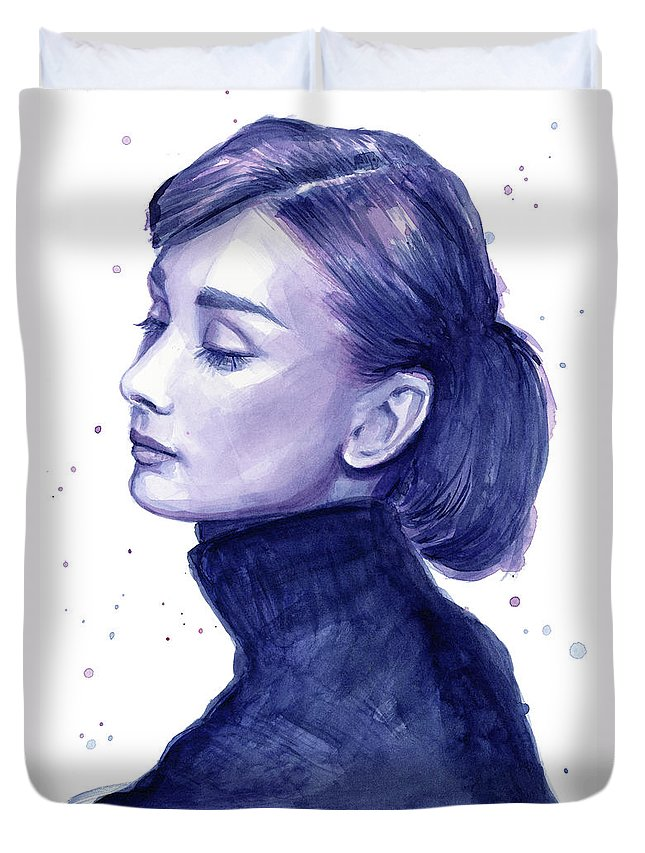 Audrey Duvet Cover featuring the painting Audrey Hepburn Portrait by Olga Shvartsur