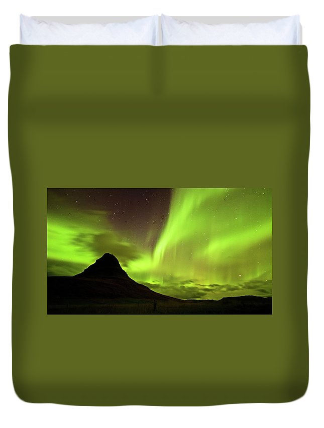 Scenics Duvet Cover featuring the photograph Aurora Borealis by Geinis