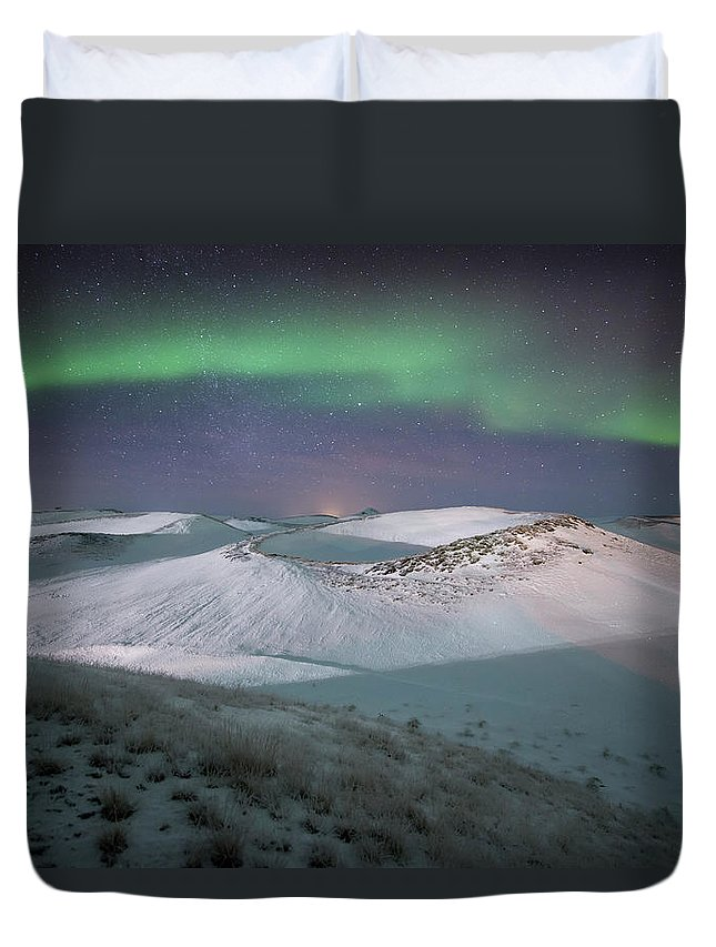 Scenics Duvet Cover featuring the photograph Aurora, Myvatn, Iceland by David Clapp