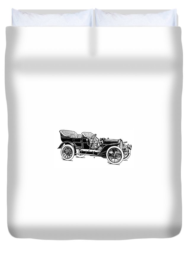 1907 Duvet Cover featuring the drawing Automobile, 1907 by Granger