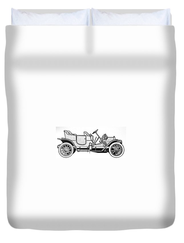 1905 Duvet Cover featuring the drawing Automobile, C1905 by Granger