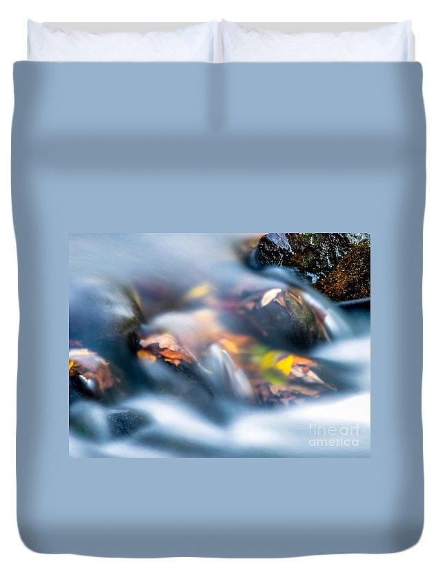 River Duvet Cover featuring the photograph Autumn Falls by Optical Playground By MP Ray