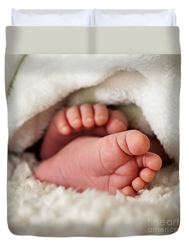 Adorable Duvet Cover featuring the photograph Baby Toes by Kati Finell