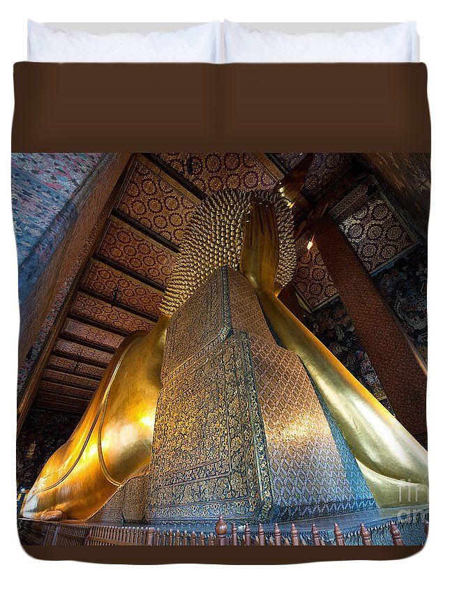 Buddha Duvet Cover featuring the photograph Back View Of Reclining Buddha by Yew Kwang