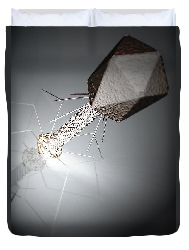 Infection Duvet Cover featuring the photograph Bacteriophage by Science Picture Co