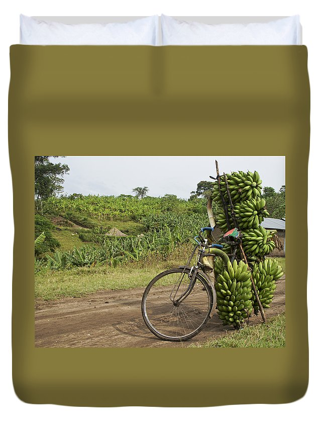 Uganda Duvet Cover featuring the photograph Banana Bike by Brian Kamprath