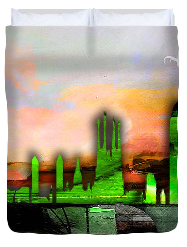 Barcelona Art Duvet Cover featuring the mixed media Barcelona Spain Skyline Watercolor by Marvin Blaine