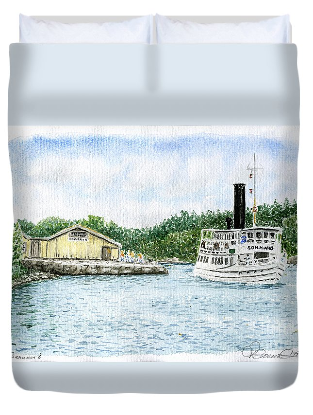 Watercolor Duvet Cover featuring the painting Barnens O by Torbjorn Swenelius
