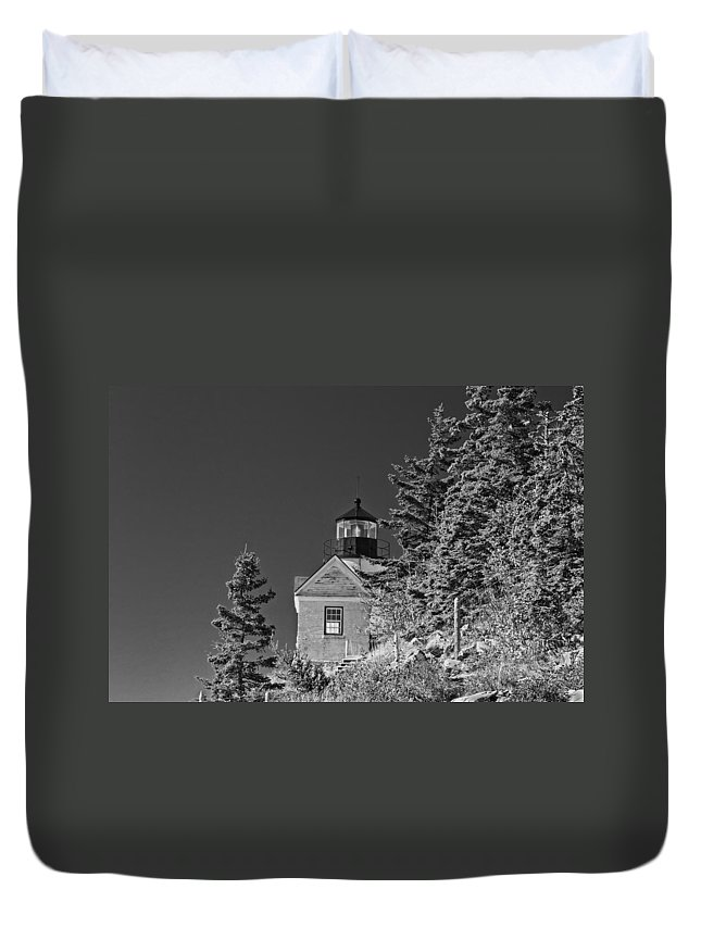 Bass Harbor Lighthouse Duvet Cover featuring the photograph Bass Harbor Lighthouse Mount Desert Island Maine by Keith Webber Jr