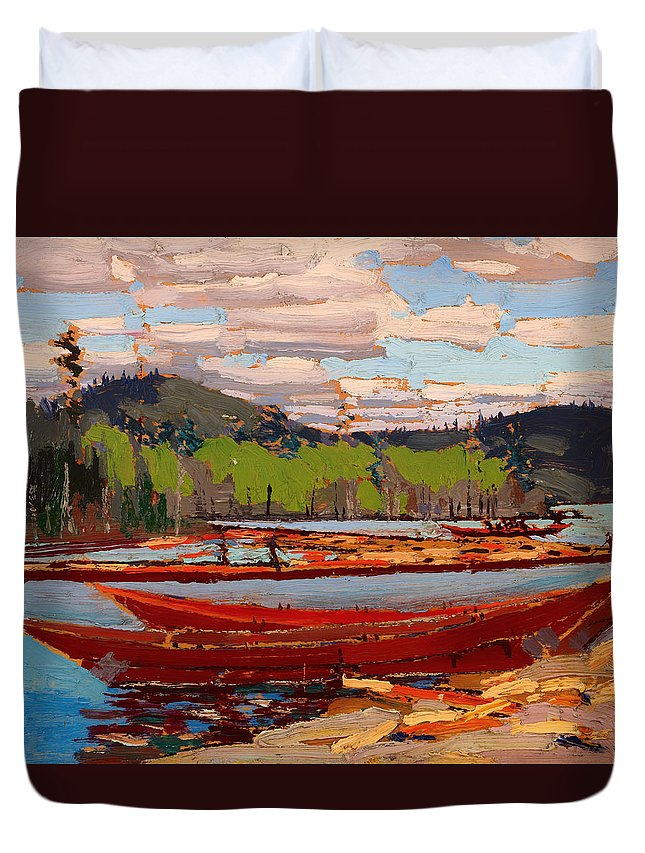 Painting Duvet Cover featuring the painting Bateaux by Mountain Dreams