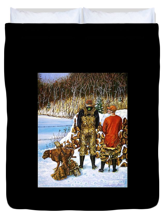 Hunters Duvet Cover featuring the painting Behind The Wood Pile  by Linda Simon