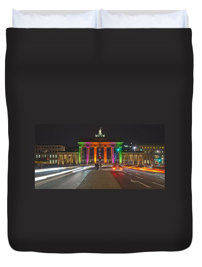 Berlin Duvet Cover featuring the pyrography Berlin Lights by Steffen Gierok