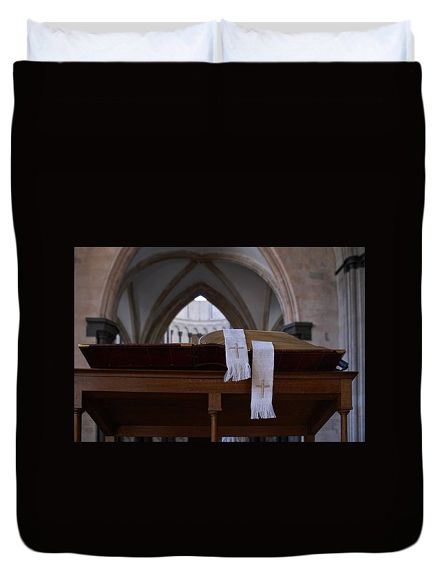 Church Duvet Cover featuring the digital art Bible In Temple by Carol Ailles