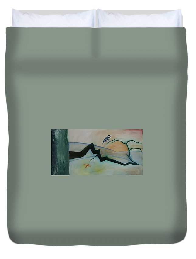 Bird Duvet Cover featuring the painting Bird Branch Leaf by Daniel P Cronin