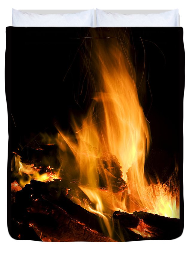 Ablaze Duvet Cover featuring the photograph Blazing Campfire by Jorgo Photography - Wall Art Gallery