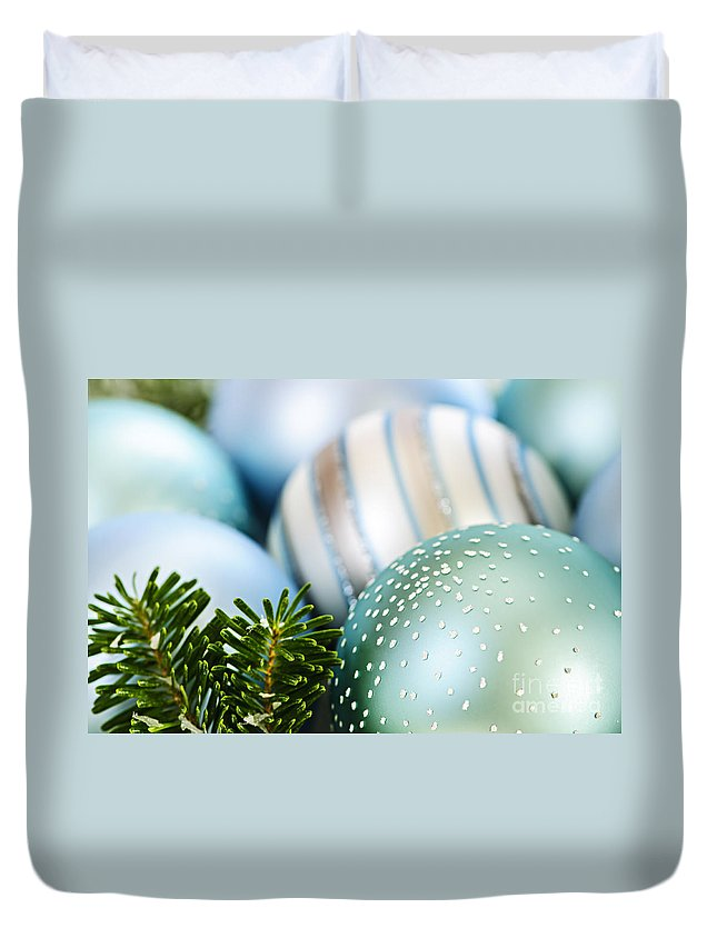 Christmas Duvet Cover featuring the photograph Blue Christmas Ornaments by Elena Elisseeva
